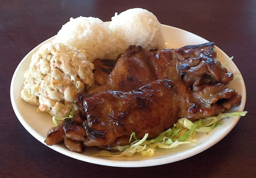 Hawaiian BBQ Chicken plate with Macaroni Salad
